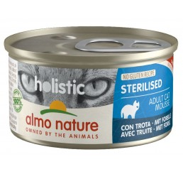 Almo Nature Gatto Holistic No Gluten Recipe Sterilised / Ricetta No Gluten Adulto Sterilizzato Mousse 85 gr con Trota